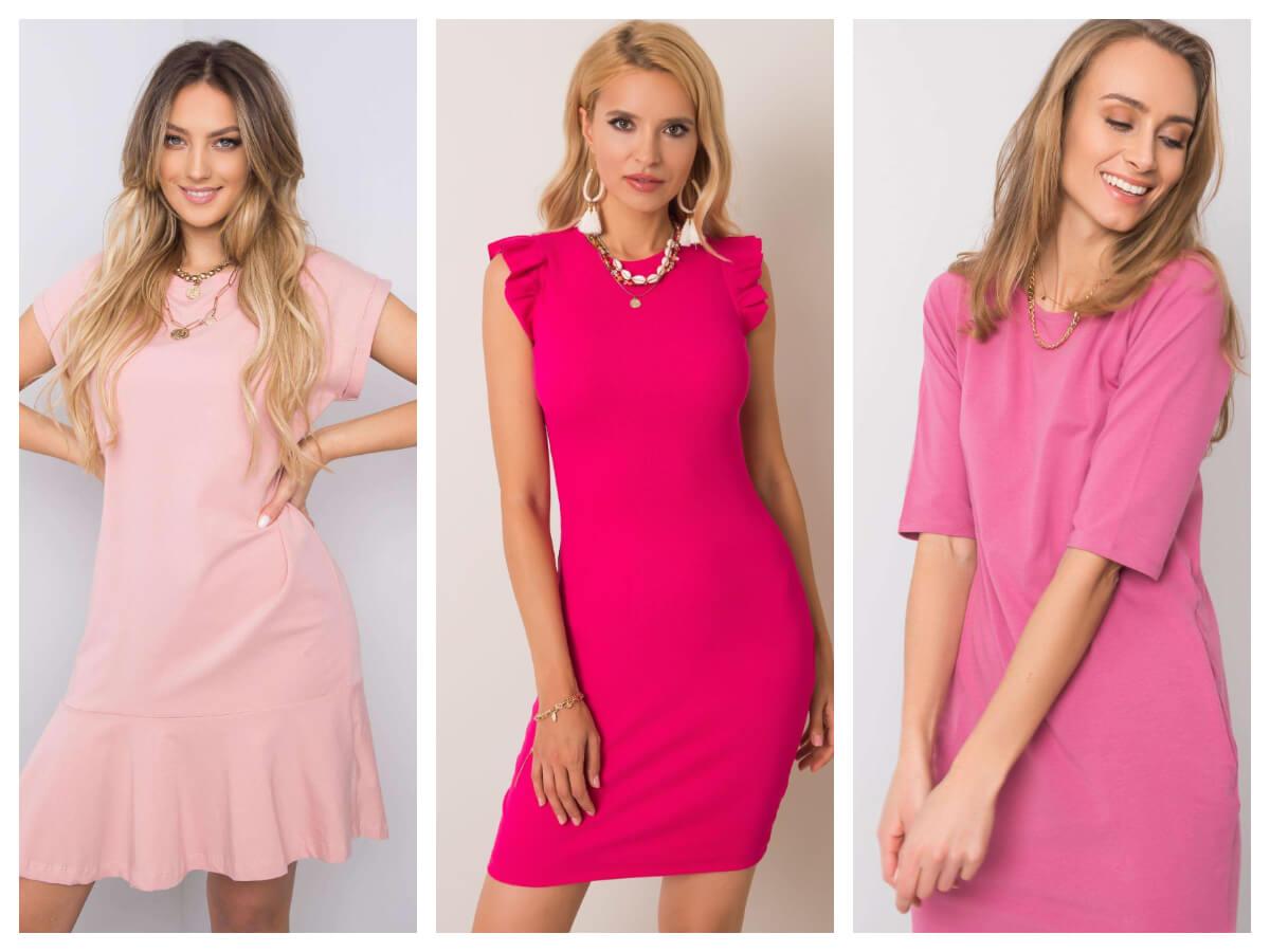 Różowa mini sukienka basic