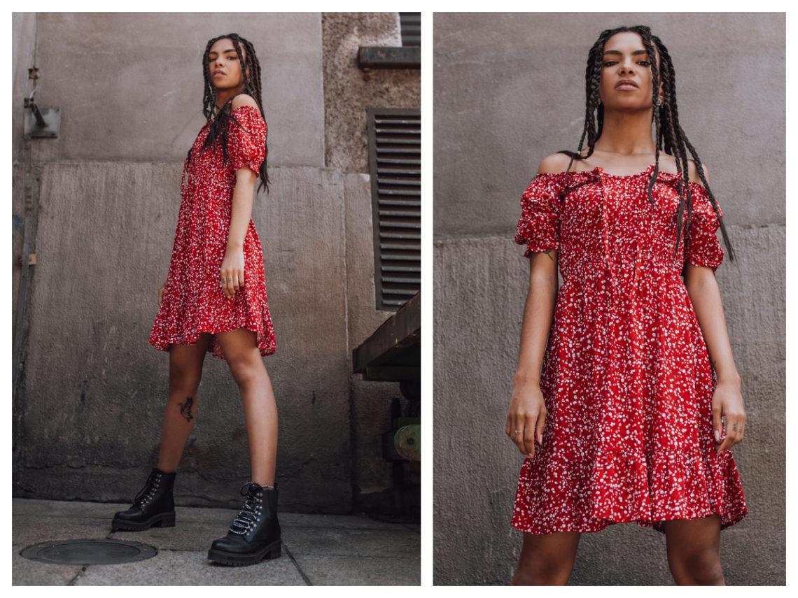 Modna sukienka hiszpanka w kolorze czerwonym