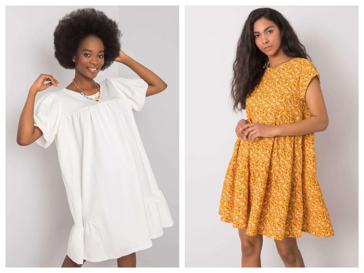 Sukienka oversize z krótkim rękawem w kolorze białym