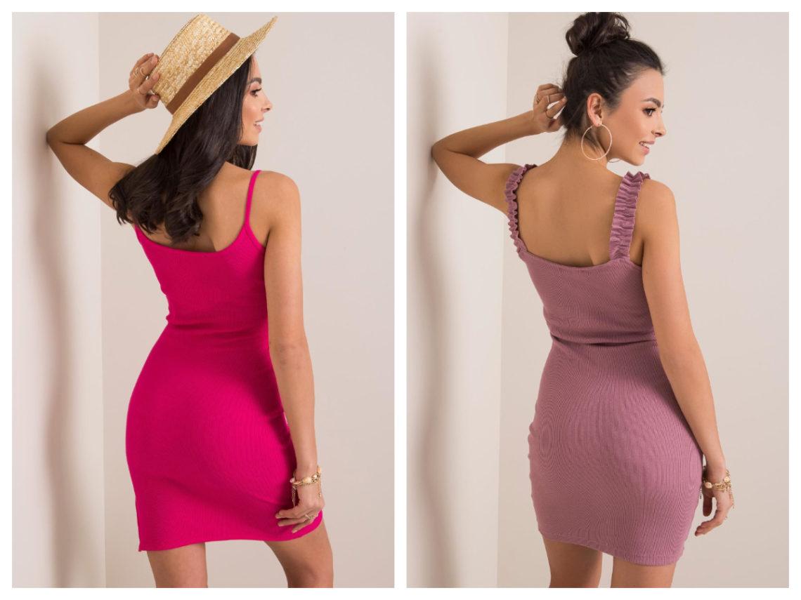 sukienka basic z dekoltem na plecach w kolorze wrzosowym